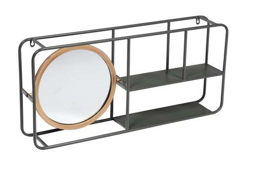Oglindă de perete cu polițe Circle, 35x74,5x12 cm, metal/ sticla, negru poza