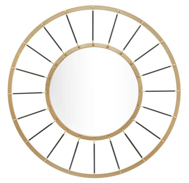 Oglindă de perete Glam, 81x81x6,5 cm, metal/ sticla, auriu/ negru poza