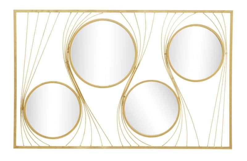 Oglindă de perete Infinity, 96,5x61x2 cm, metal/ sticla, auriu poza