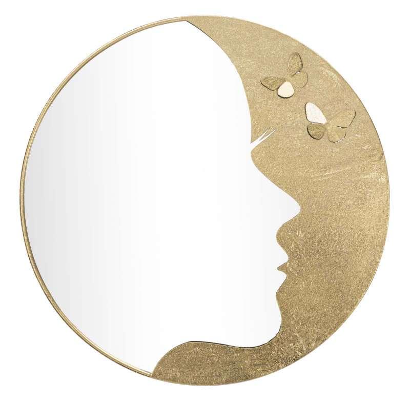 Oglindă de perete Lady Luxy, 80x80x2,5 cm, metal/ sticla, auriu poza