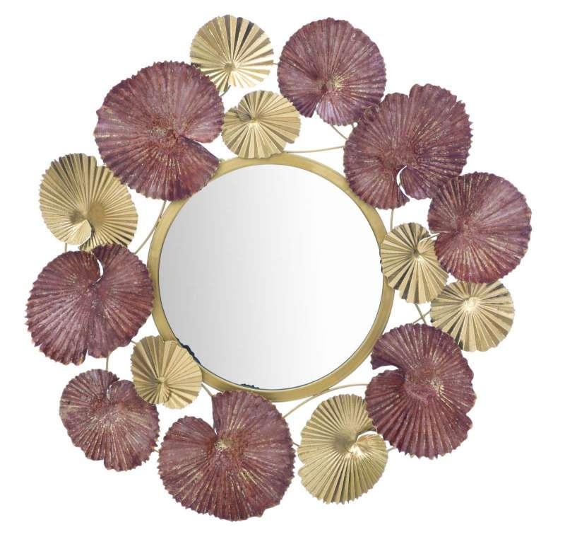Oglindă de perete Leaf, 69,5x71x6 cm, metal/ sticla, multicolor poza