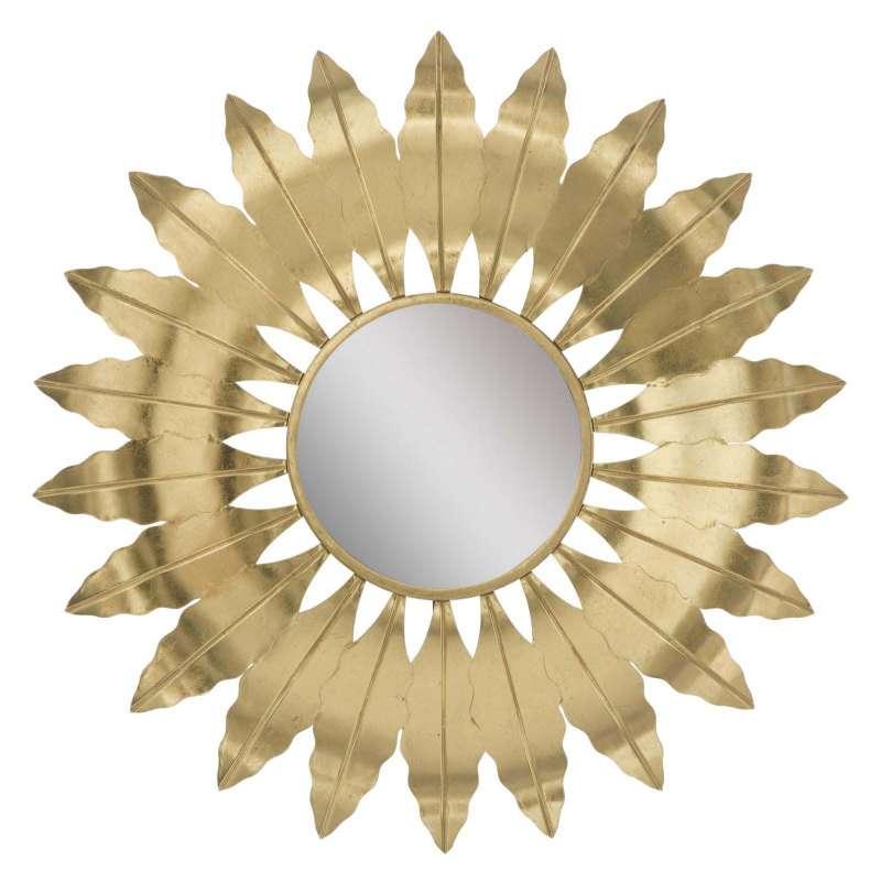 Oglindă de perete Leaf Glam, 98x98x5 cm, metal/ mdf/ sticla, auriu poza