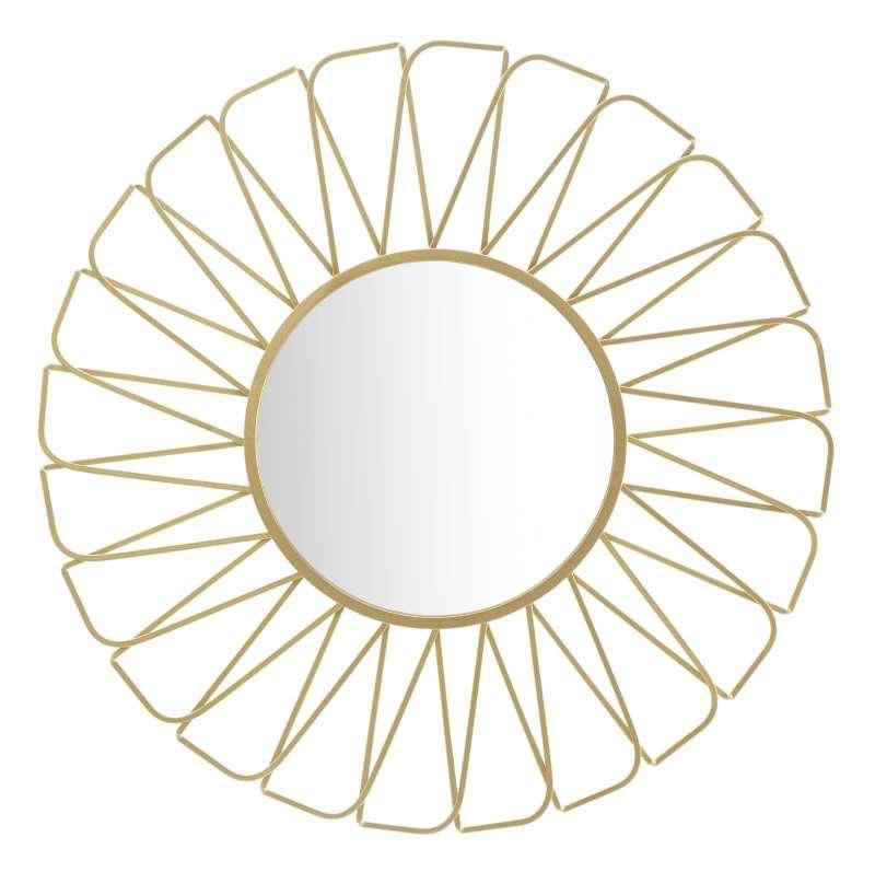 Oglindă de perete Rays, 96x96x3,5 cm, metal/ sticla, auriu poza