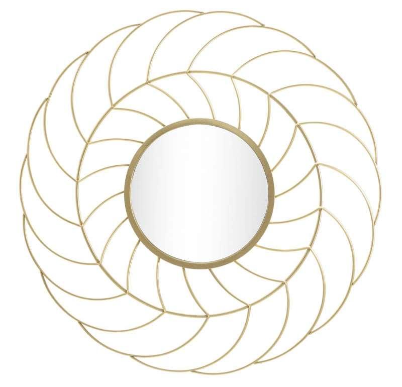 Oglindă de perete Sunflower, 88x88x7 cm, metal/ sticla, auriu poza