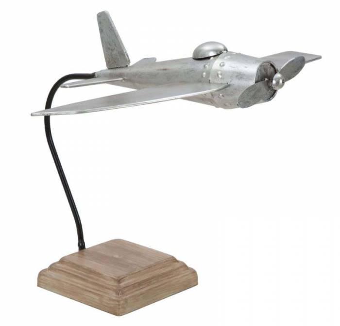 Decorațiune Aviator, 39x51.2x42 cm, metal, argintiu/ maro