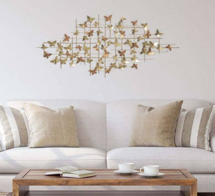 Decorațiune de perete Butterfly, 80x175x3 cm, metal, multicolor