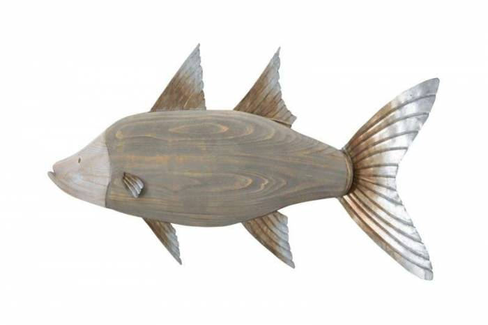 Decorațiune de perete Fish, 33.5x99x2.5 cm, metal/ lemn, multicolor