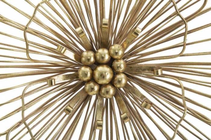 Decorațiune de perete Flower, 42x45x7,5 cm, metal, auriu