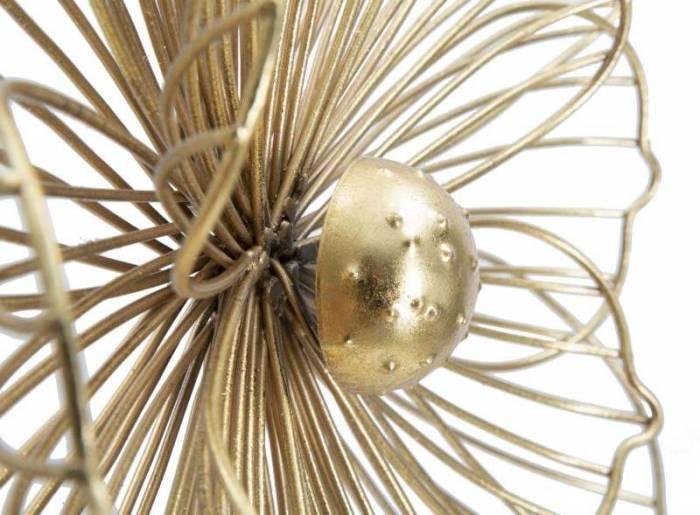 Decorațiune de perete Flower, 47x50x8 cm, metal, auriu