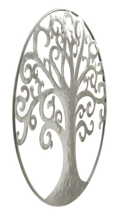 Decorațiune de perete Life Tree, 70x70x18 cm, metal, argintiu