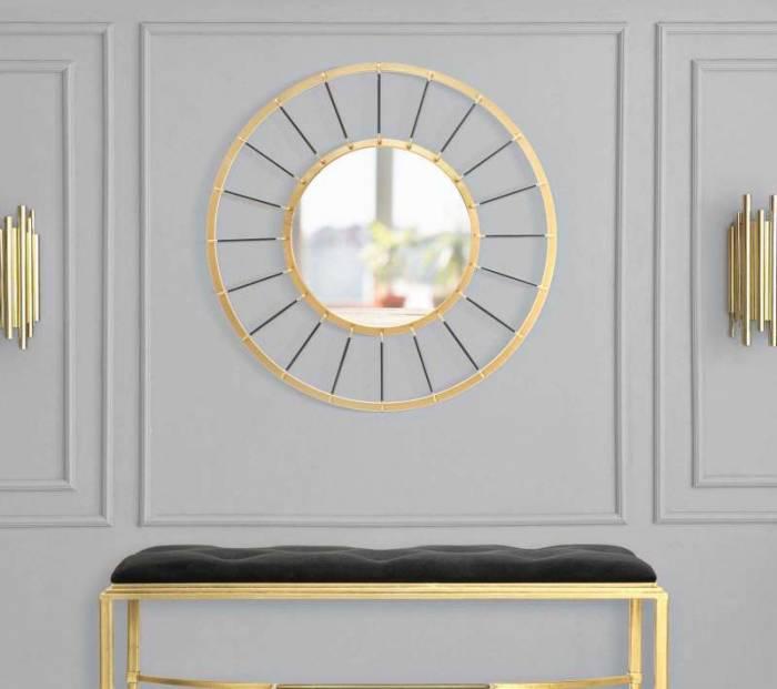 Oglindă de perete Glam, 81x81x6,5 cm, metal/ sticla, auriu/ negru
