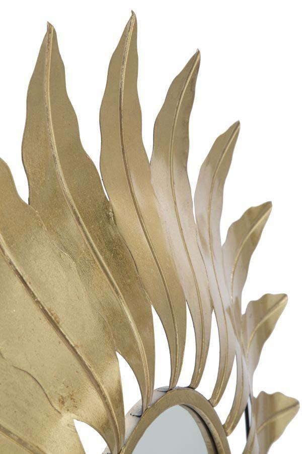 Oglindă de perete Leaf Glam, 98x98x5 cm, metal/ mdf/ sticla, auriu