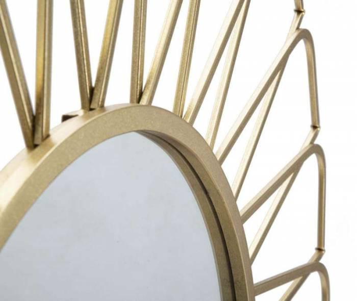Oglindă de perete Rays, 96x96x3,5 cm, metal/ sticla, auriu