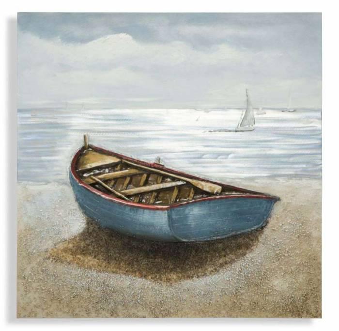 Tablou Barca, 100x100x3.7 cm, lemn de pin/ canvas, multicolor
