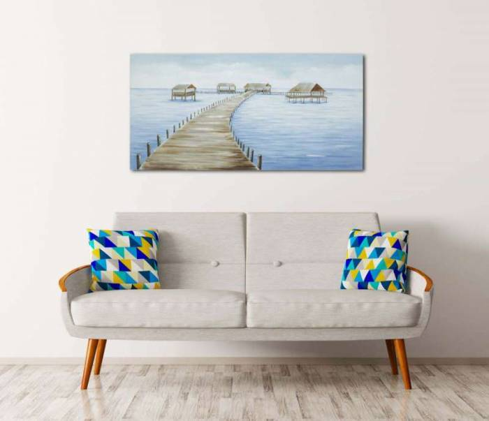 Tablou Fiji, 70x140x3.7 cm, lemn de pin/ canvas/ metal, multicolor