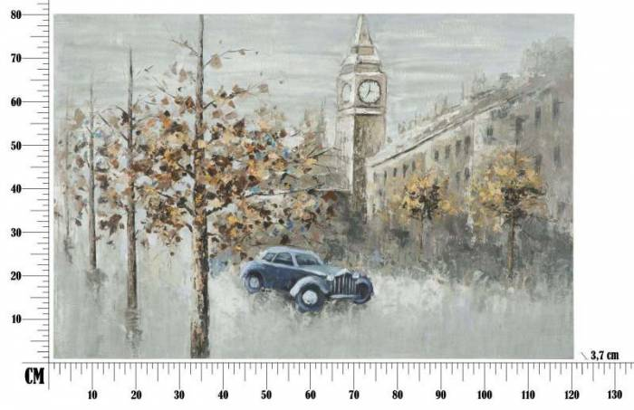 Tablou London, 80x120x3.7 cm, lemn de pin/ canvas/ metal, multicolor