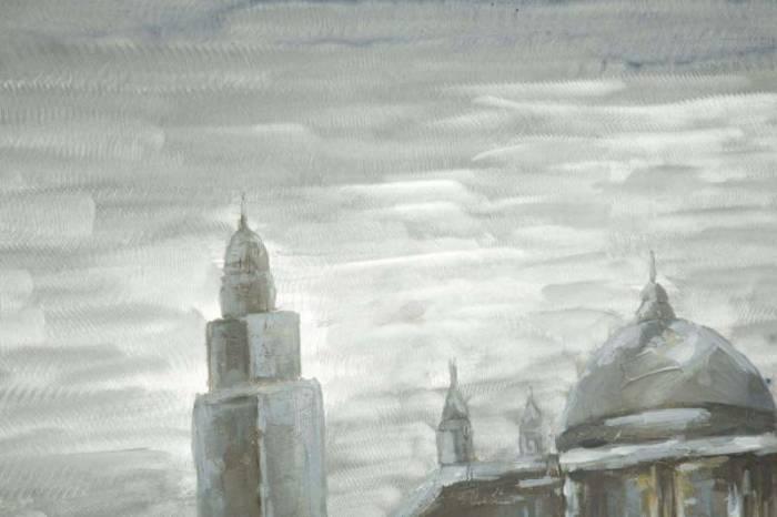 Tablou Old City, 80x120x3.7 cm, lemn de pin/ canvas/ metal, multicolor