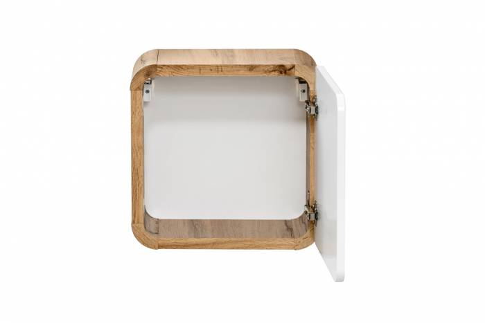 Dulap de baie suspendat, o ușă, Aruba 35x35x22, PAL/MDF, alb/maro