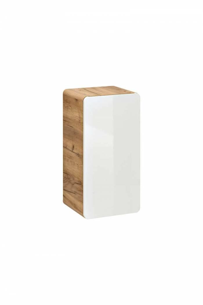 Dulap de baie suspendat, o ușă, Aruba 35x32x68, PAL/MDF, alb/maro