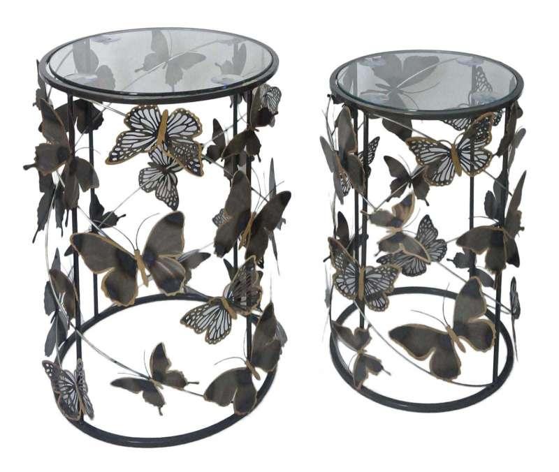 Set 2 măsuțe Farfalle, metal/ sticla, multicolor poza