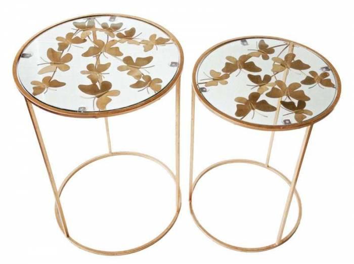 Set 2 măsuțe Butterfly, metal/ sticlă, auriu