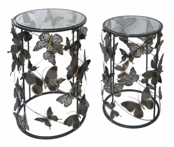 Set 2 măsuțe Farfalle, metal/ sticla, multicolor