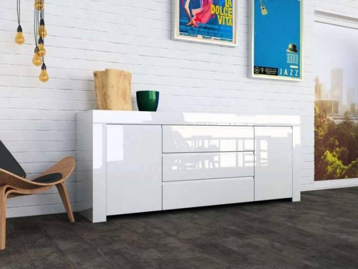 Bufet Amber, 82x50x190 cm, melamină, alb