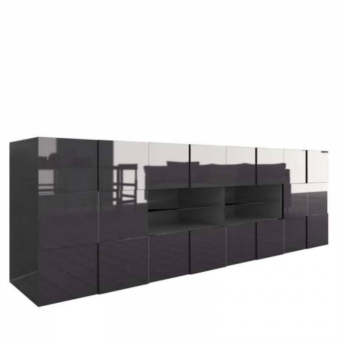 Bufet Bramon, 84x42x240 cm, melamină, gri