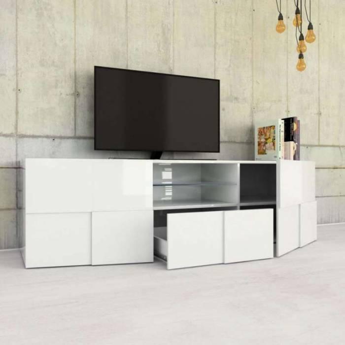 Comodă TV Bramon, 57x42x180 cm, melamină, alb