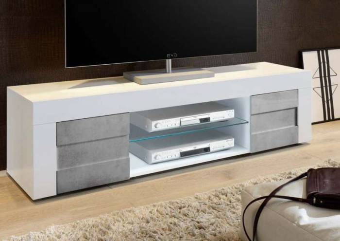 Comodă TV Build, 44x42x181 cm, melamină, gri