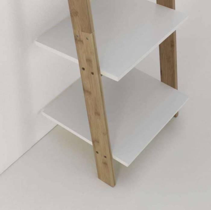 Etajeră Memphis, 164x37x43 cm, lemn de bambus/ mdf, maro/alb