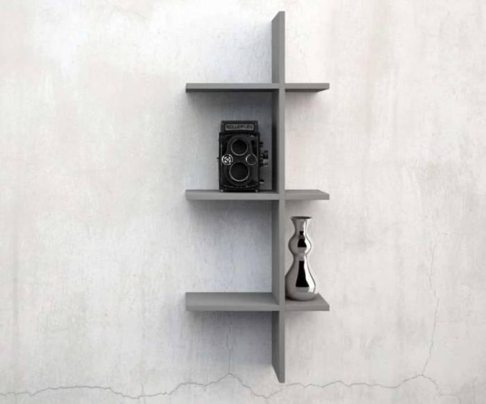 Raft de perete Easy 1, 37x15x92 cm, melamină, gri