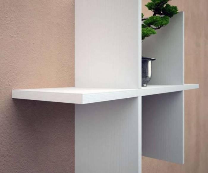 Raft de perete Easy 4, 42x15x62 cm, melamină, alb