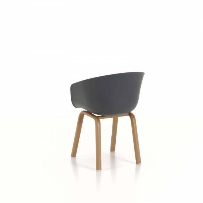 Set 4 scaune de living Atlanta, 78x51x58 cm, metal/ polipropilenă, gri
