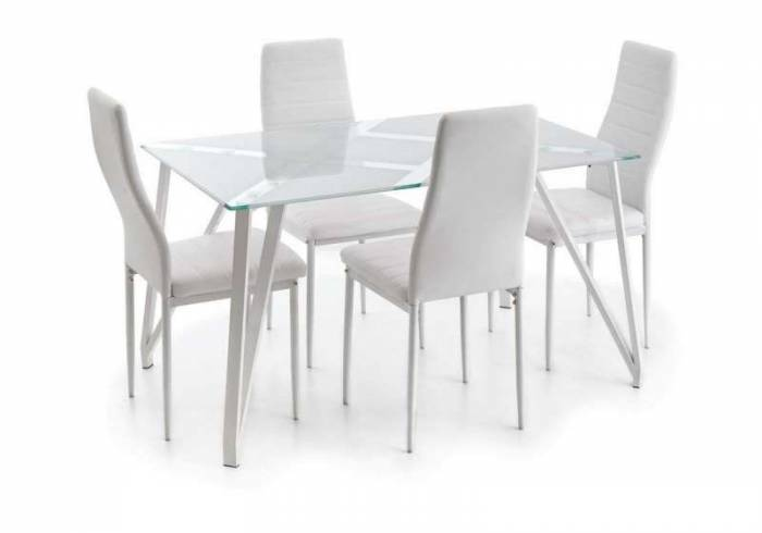 Set 4 scaune dining Carolina, 95x39x41 cm, metal/ ecopiele, alb