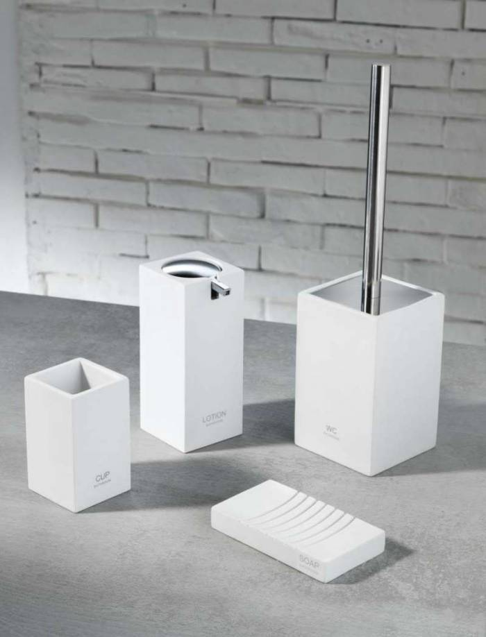 Set de accesorii pentru baie Elfo, rășină/ metal/ abs, alb