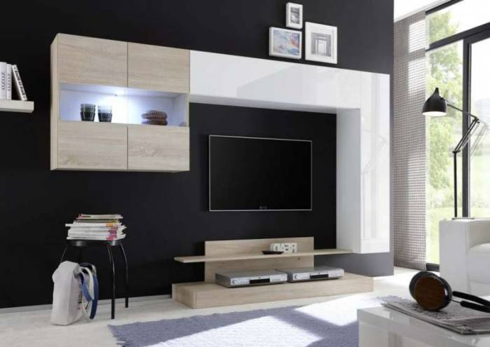 Set mobilă living Nico 2, 175x40x248 cm, melamină, alb/maro deschis