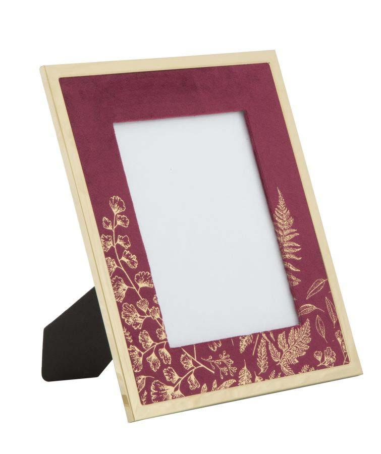 Ramă foto , 29x24x1.5 cm, mdf/ metal/ sticla, bordo/ auriu