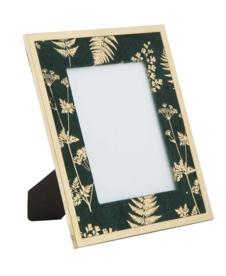 Ramă foto , 29x24x1.5 cm, mdf/ metal/ sticla, verde/ auriu
