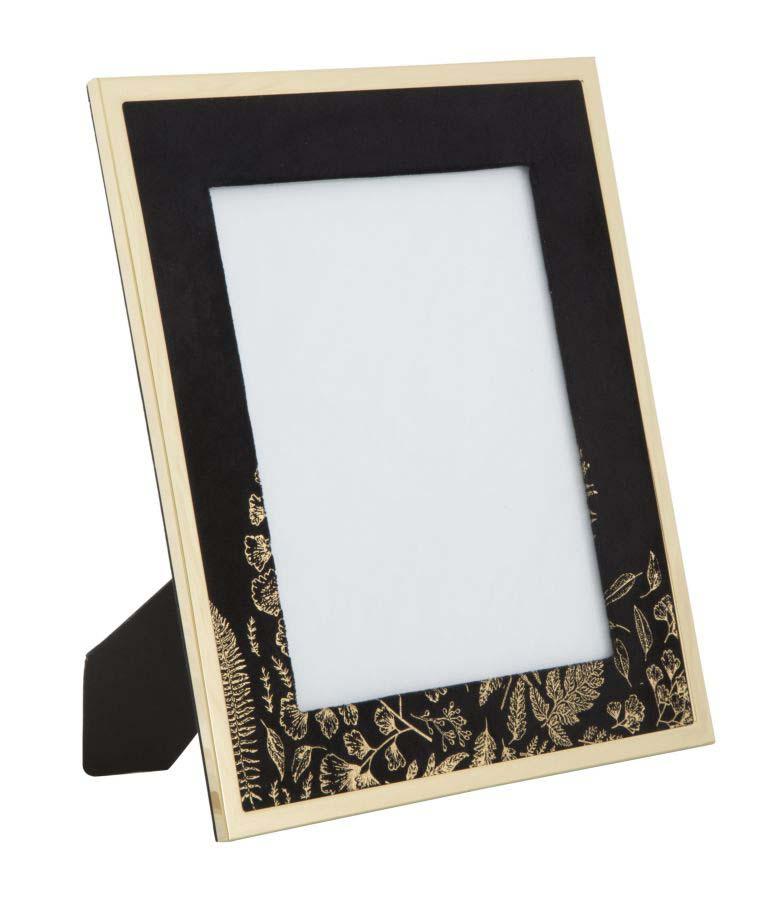 Ramă foto , 33.5x28x1.5 cm, mdf/ metal/ sticla, negru/ auriu