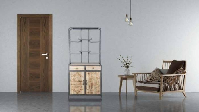 Bufet Soho, 176x82x45 cm, lemn de brad/metal/ mdf, negru/ maro