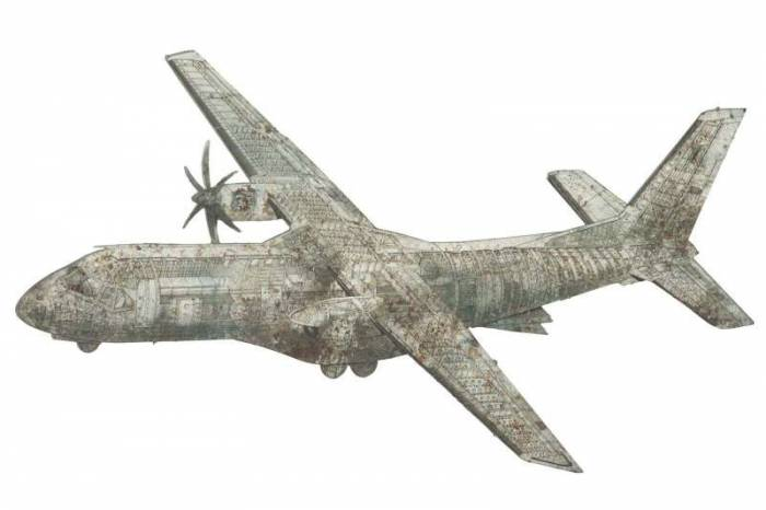 Decorațiune de perete Aviator, 64x107x5 cm, metal, alb/ gri