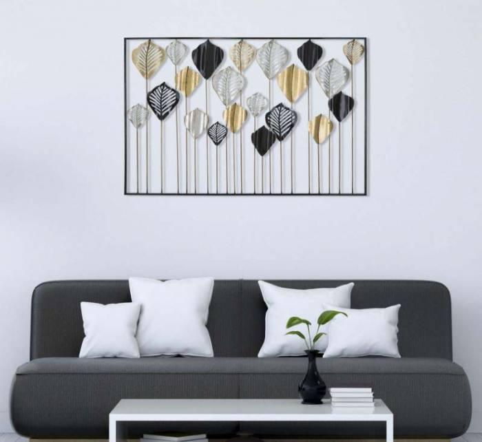 Decorațiune de perete Lex, 78.5x120x2.5 cm, metal, auriu/ argintiu/ negru