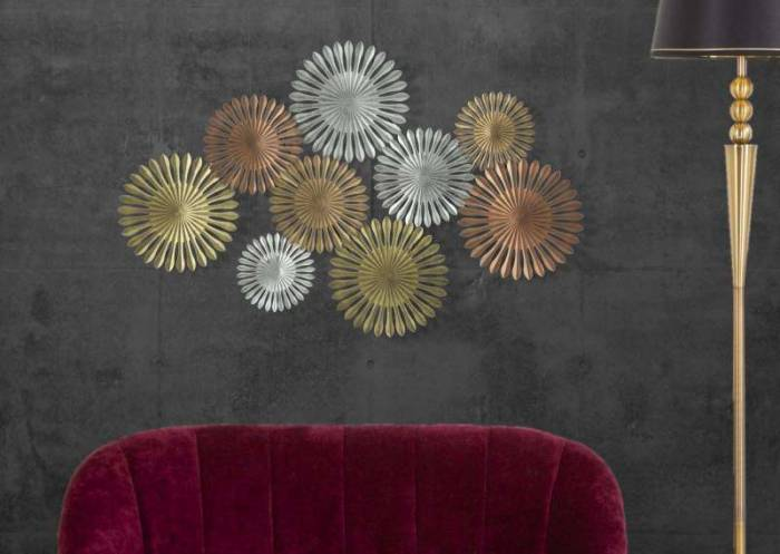 Decorațiune de perete Oxy, 74x114x5 cm, metal, multicolor