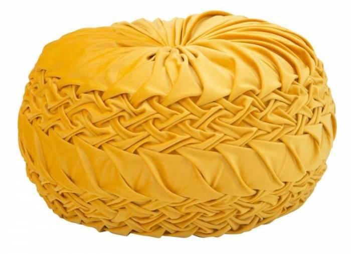 Puf Glam, 25x48x48 cm, poliester/ polistiren, portocaliu