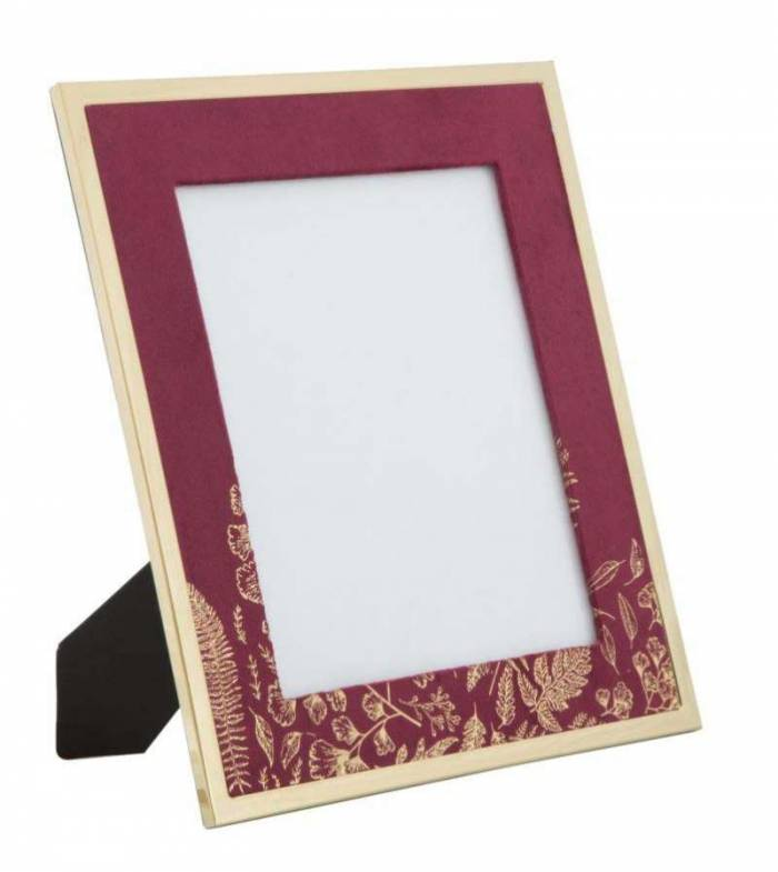 Ramă foto , 33.5x28x1.5 cm, mdf/ metal/ sticla, bordo/ auriu