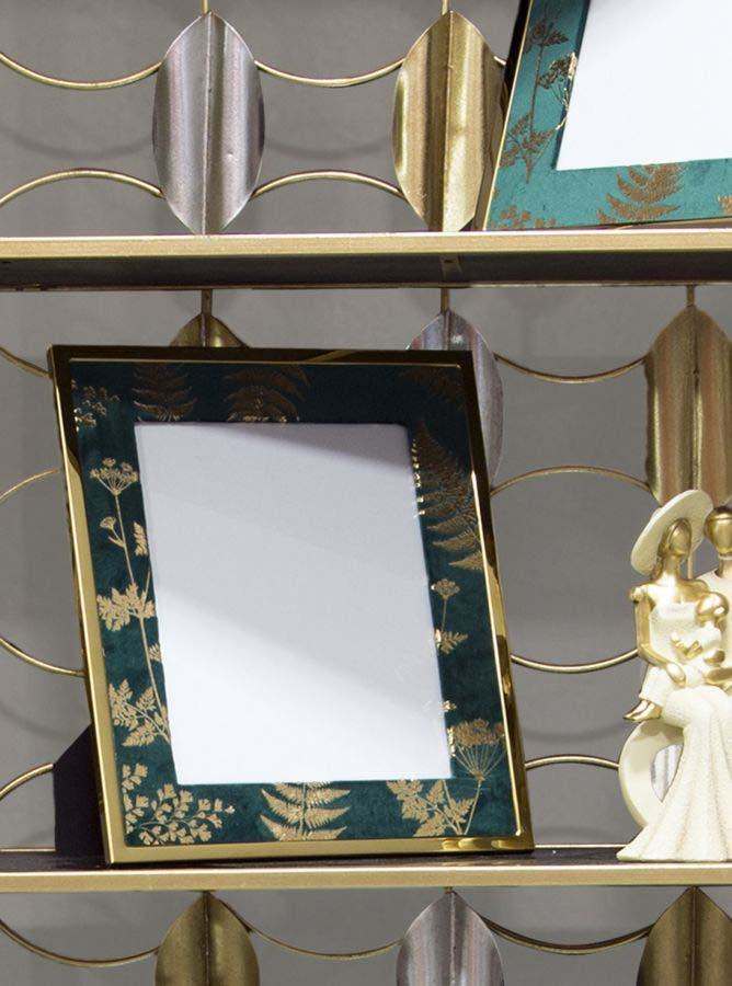 Ramă foto , 33.5x28x1.5 cm, mdf/ metal/ sticla, verde/ auriu
