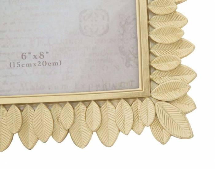 Ramă foto Leaves, 28x23x1.8 cm, rasina, auriu
