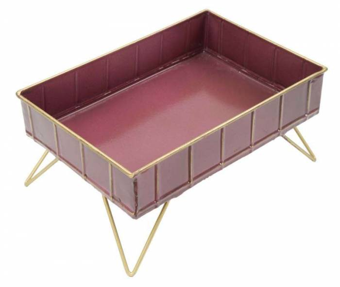 Stativ Glam Bordo, 15.5x32x21.5 cm, metal, bordo/ auriu