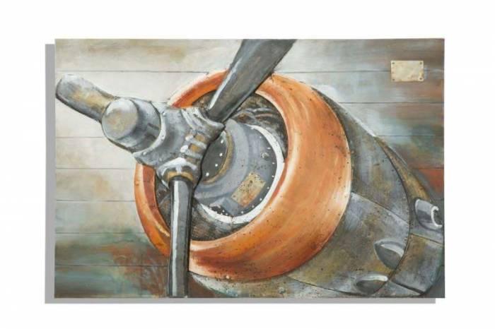 Tablou Aviator, 80x120x3.7 cm, lemn de pin/ plastic/ canvas, multicolor